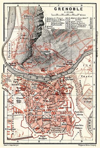 Grenoble City Map 1885 Map Historical Maps Map Gifts