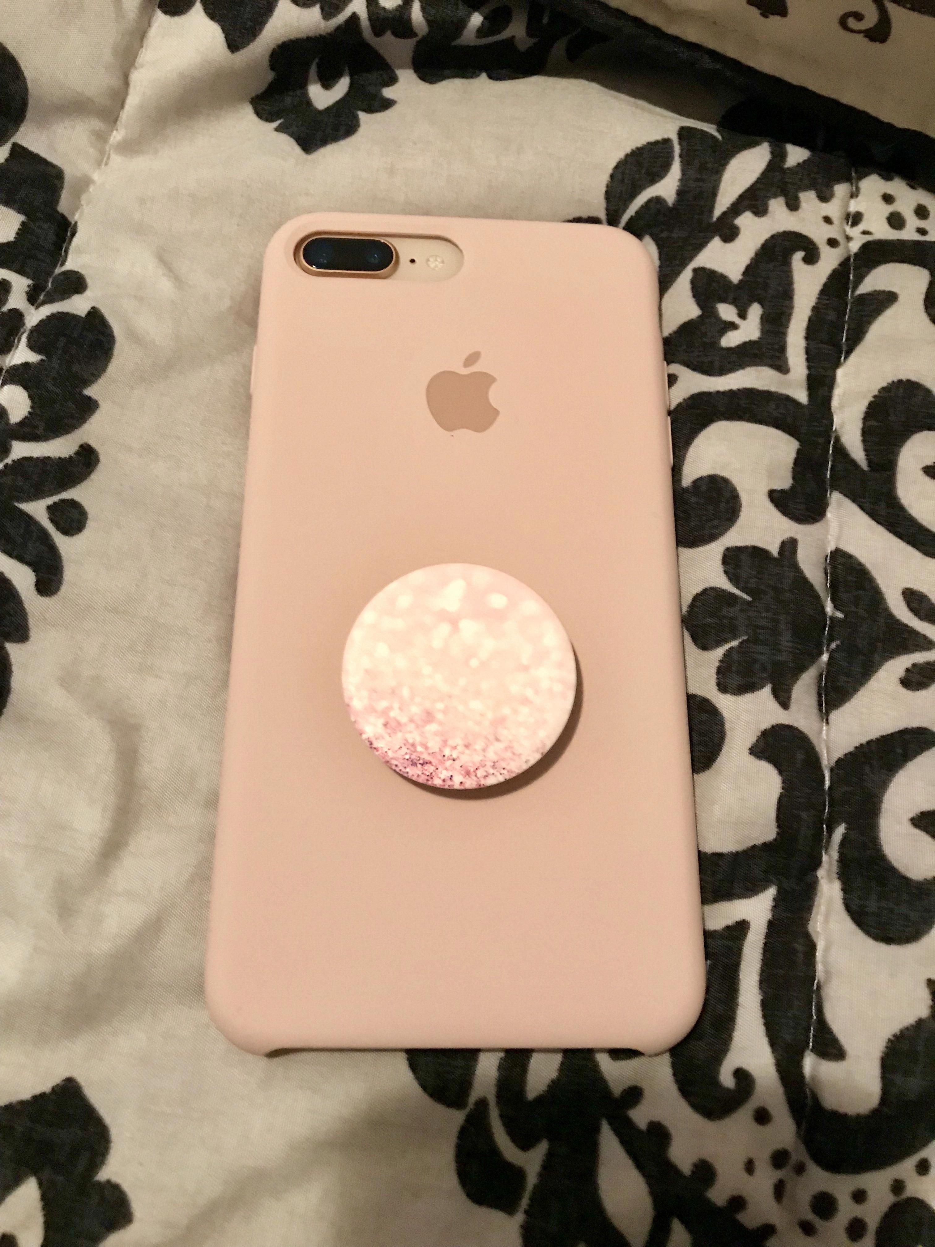 Iphone 8 Plus Gold With Pink Sand Apple Silicone Case Pink Blush Pop Socket Iphone7plus Unicorn Iphone Case Iphone Phone Cases Pink Iphone