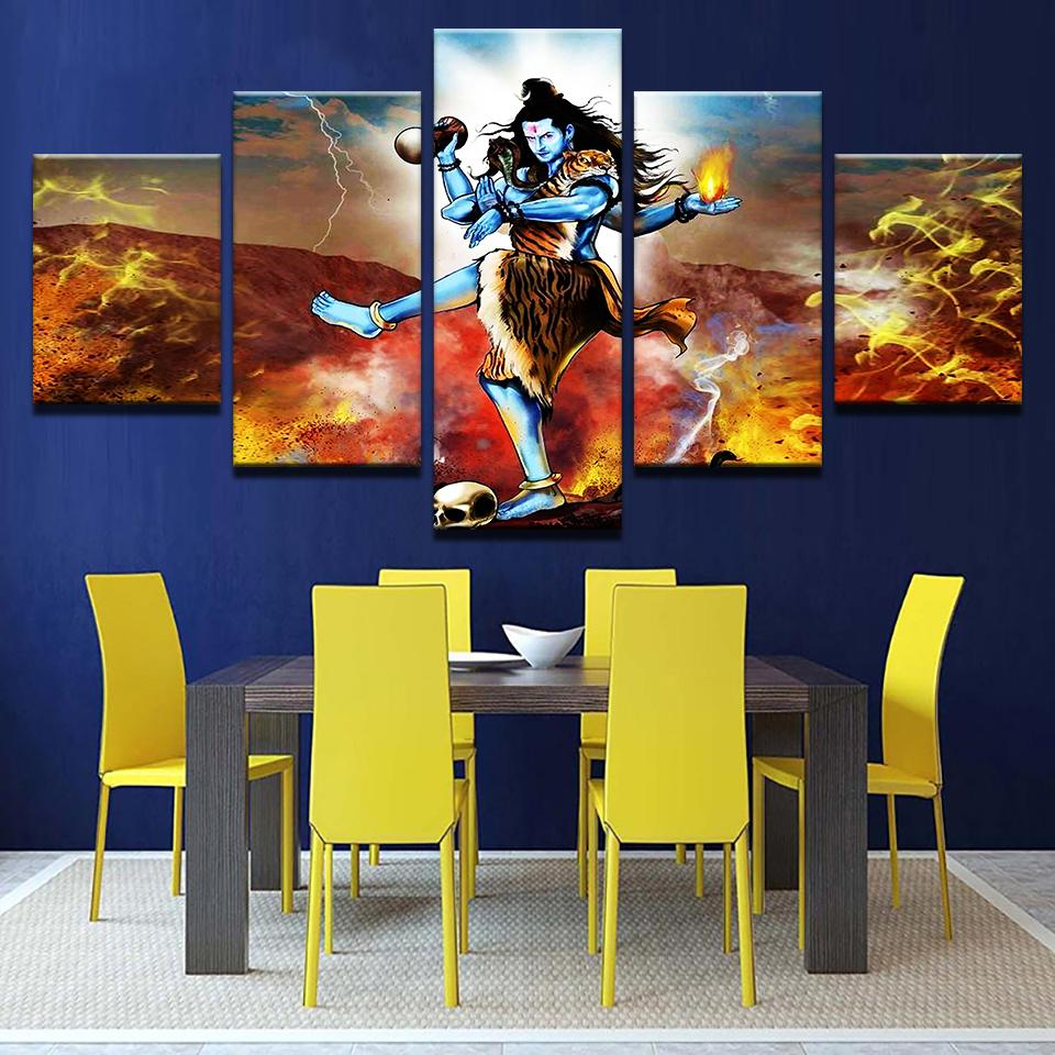 e4339cd656d God Shiva painting - Superior Quality Canvas Printed Wall Art Poster 5  Pieces   5 Panel Wall Decor