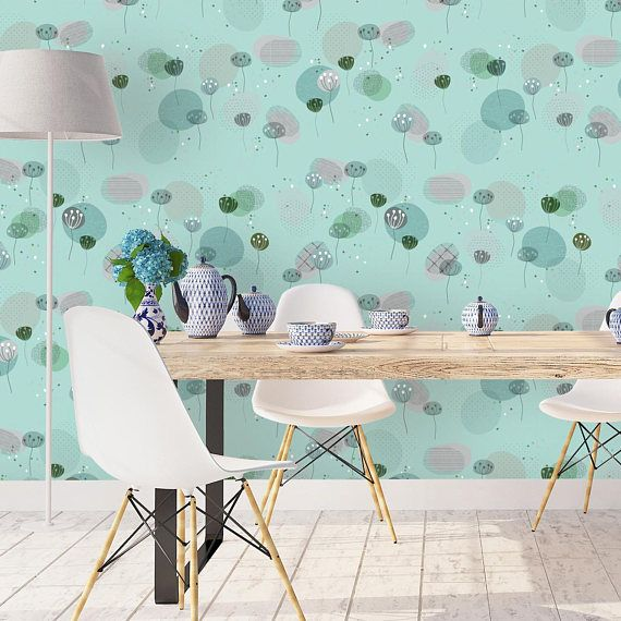 Turquoise Flower Wallpaper, Removable Wallpaper, Self Stick ...