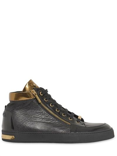 EMBOSSED LEATHER HIGH TOP SNEAKERS