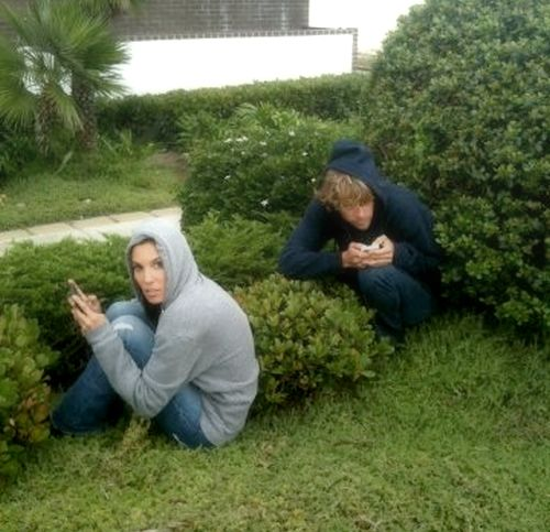 hiding in the bushes :)