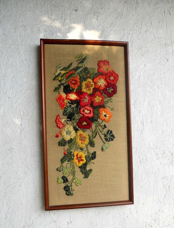 Vintage Crewel Embroidery Wall Hanging Framed By Freshlavender 44 00 Crewel Embroidery Embroidery Flowers Embroidery