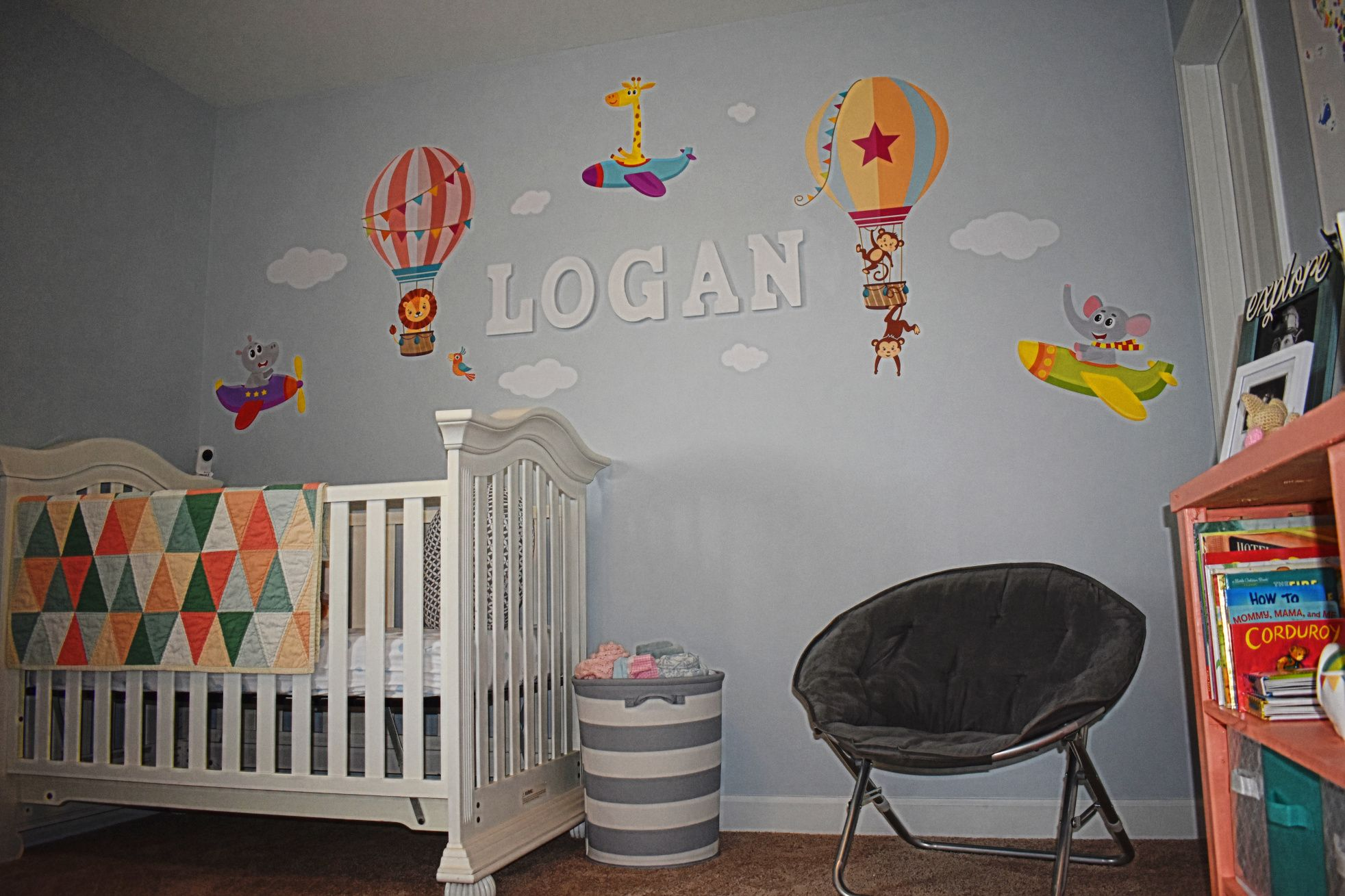 Little explorer hot air balloon and airplane nursery for