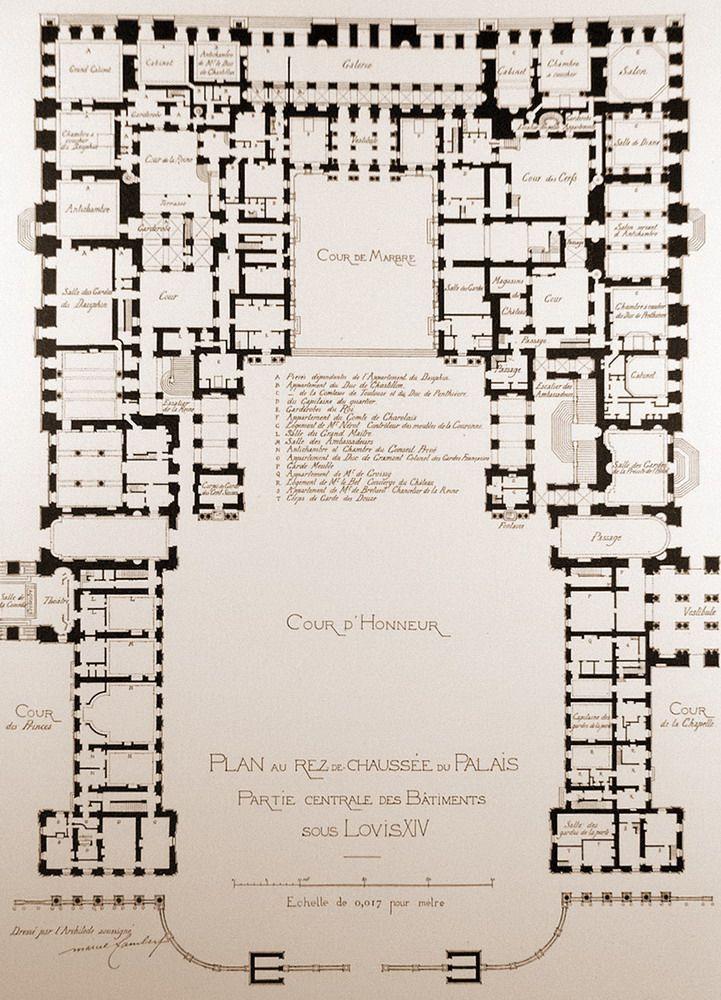 Palace Map D&d : palace, Centre, Piece, Palace, Versailles., Ground, Floor., Château,, Versailles,, Chateau, France