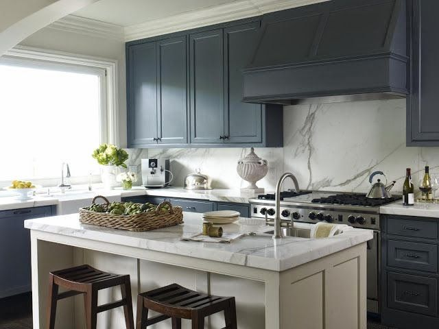 Luxury Blue Painted Kitchen Cabinets