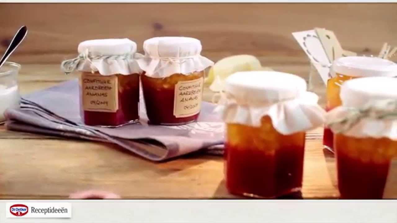 Laagjesconfituur aardbeien -- ananas - Het recept kan je vinden op: http://www.oetker.be/onze-recepten/r/aardbeien-ananas-confituur.html