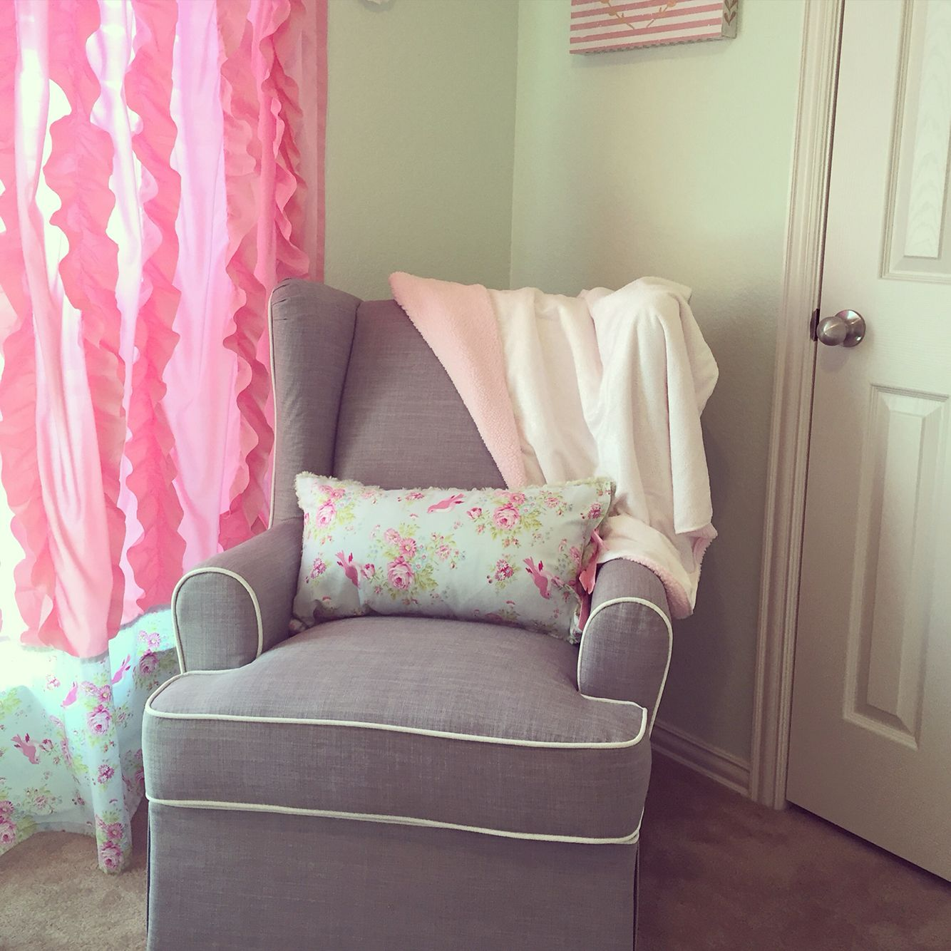 Ed Bauer Glider From Target Mint And Pink Nursery Shabby Chic