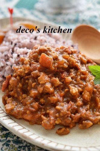 治道トマトと柿ジャムの黒米キーマカレー 奈良食材でマニアックカレー 笑 つくれぽ100人 柿 レシピ レシピ 食べ物のアイデア