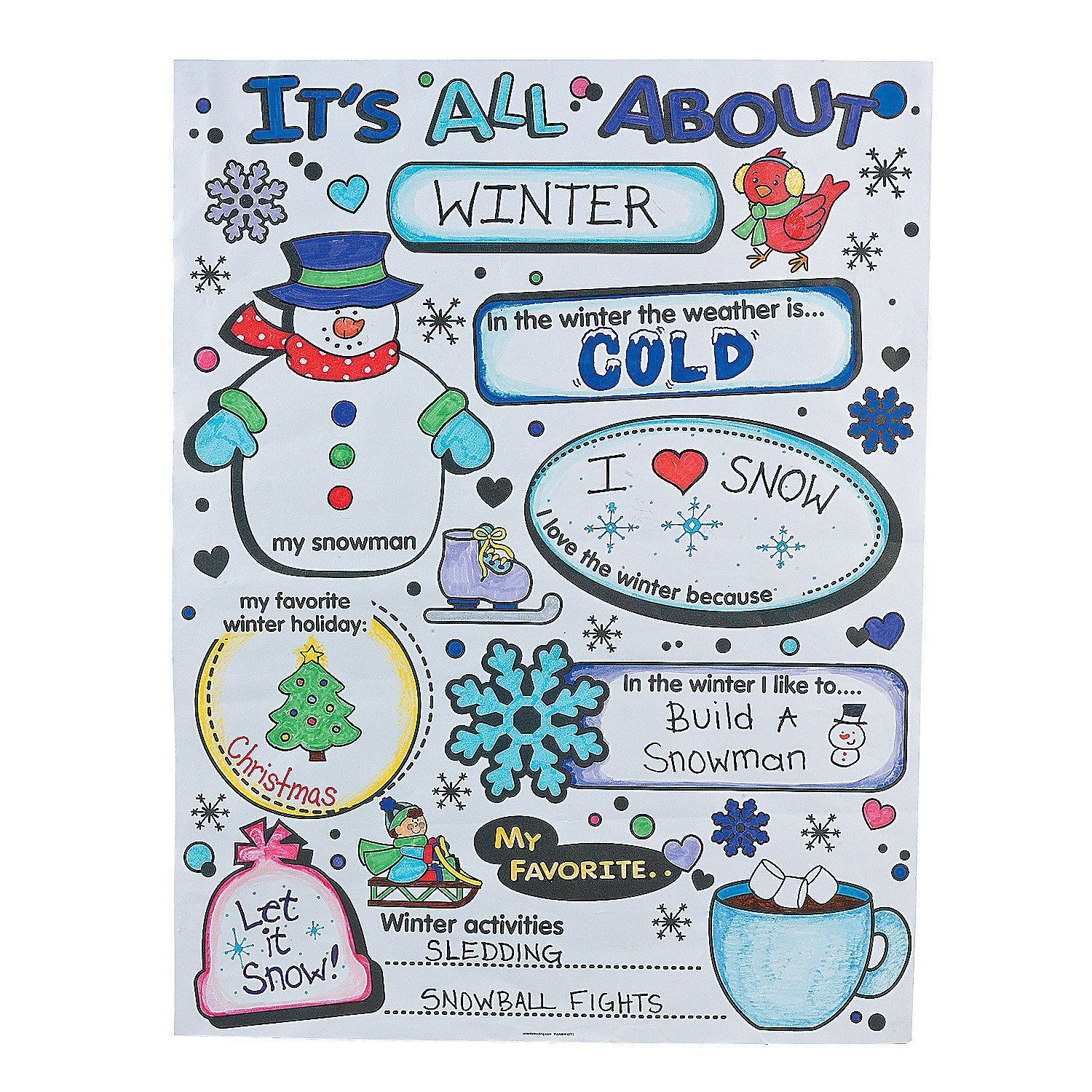 "Color Your Own ""It\'s All About Winter"" Posters - OrientalTrading.com ..."