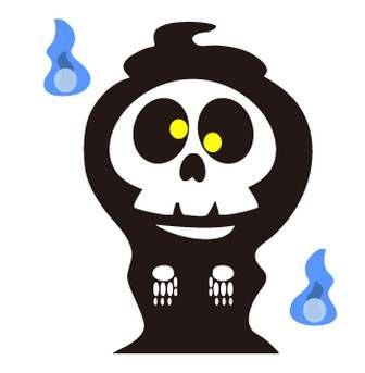 ガイコツ死神のフリー素材webホームページ素材イラスト壁紙