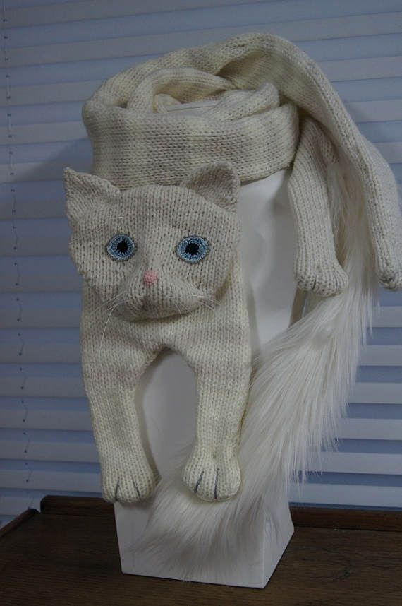 Tabby White Cat Scarf Knitting Cat Scarf Animal knitting scarf-Cat ...