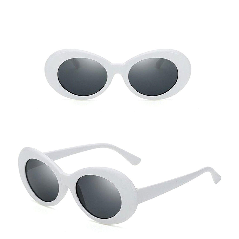 Womens Oval Round Mod Plastic Designer White Frame Sunglasses