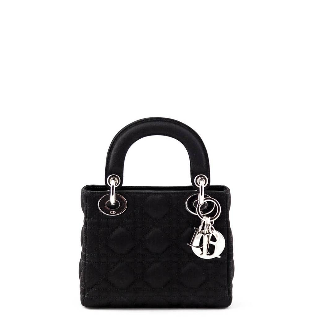 Dior Black Satin Cannage Mini Lady Dior Bag Love That Bag Preowned Authentic Designer Handbags Cannage