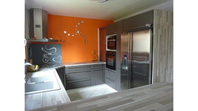 Modele Deco Cuisine Orange Et Gris Orange Kitchen Orange