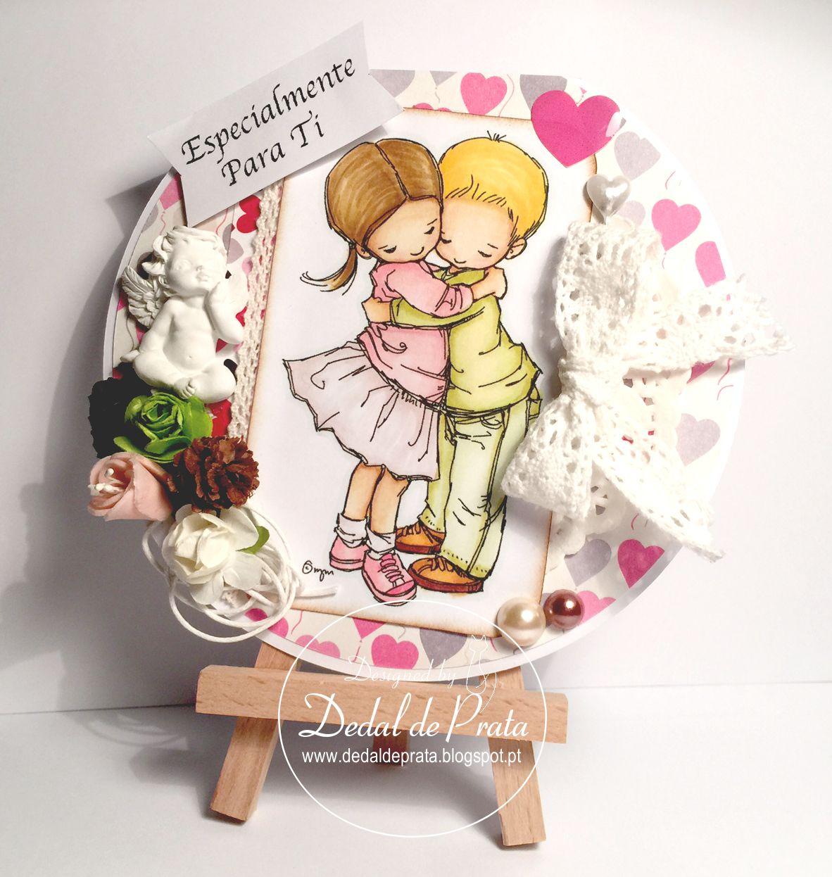 Valentine's day card. Circle card. Especialmente para ti. Cartão para o dia de São Valentim. www.dedaldeprata.blogspot.pt