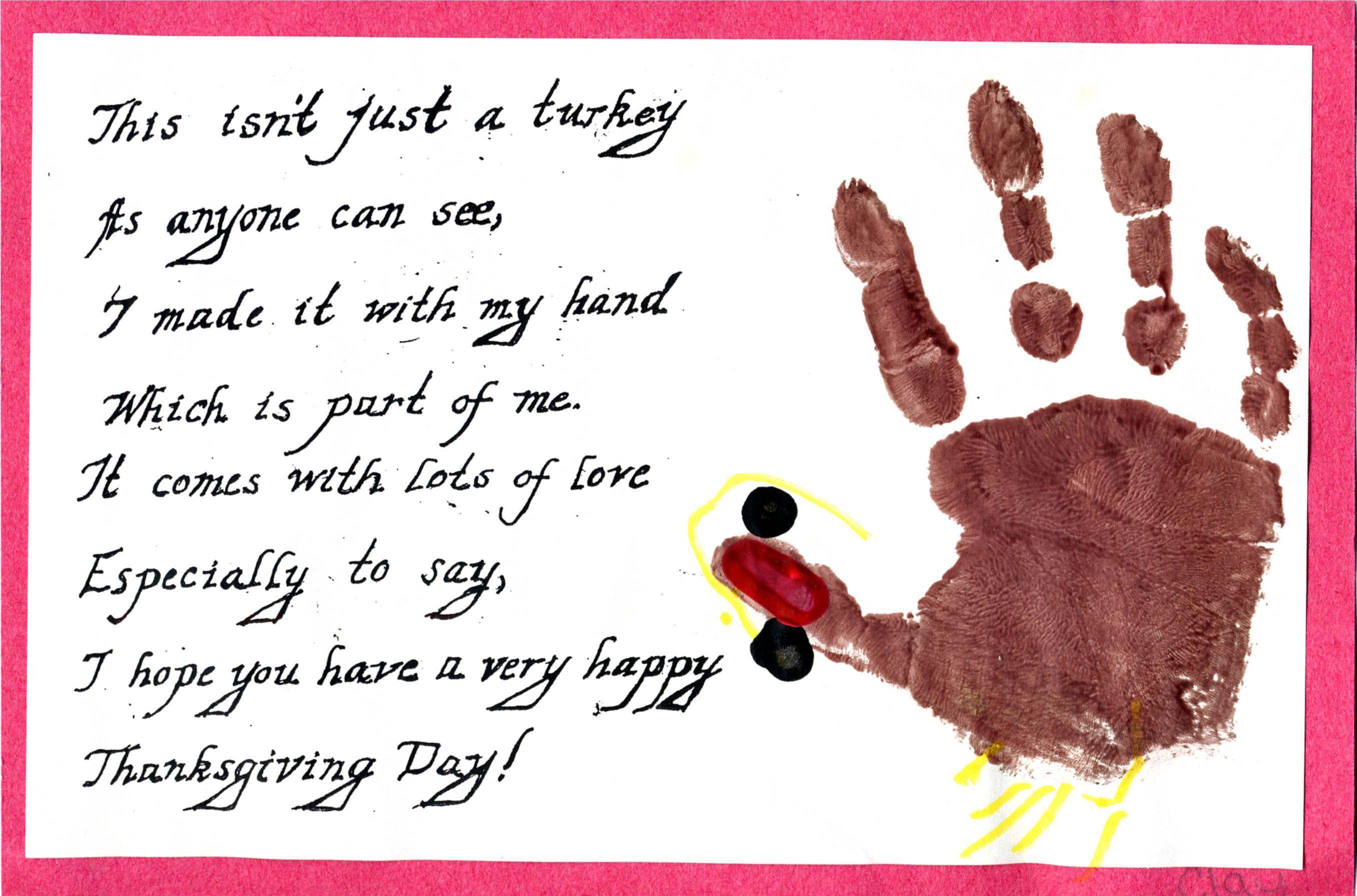 Thanksgiving Handprint Turkey With Poem