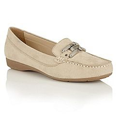 Lotus - Beige microfibre 'Alice-UK' loafers