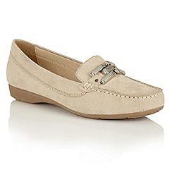 Lotus - Beige microfibre 'Alice-UK' loafers