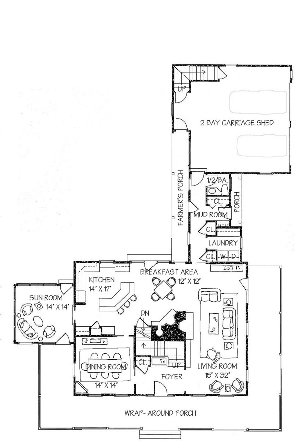 Simple New England Farmhouse Plan Shared Fireplace In Living Areas
