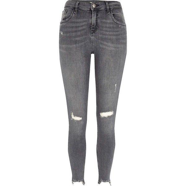 River Island Grey Ripped Amelie Super Skinny Jeans 270 Brl