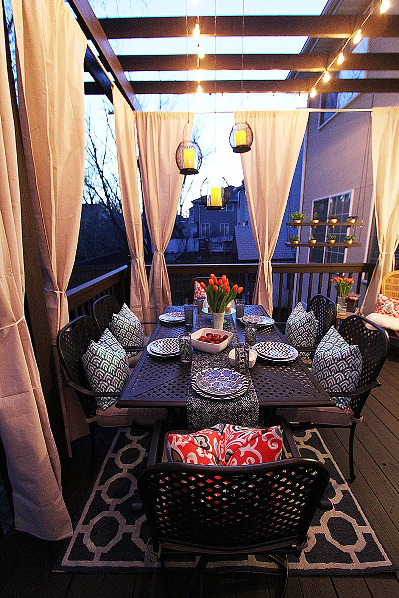 Mood lighting using string lights and lanterns withHEART.com Patio Style Challenge ...