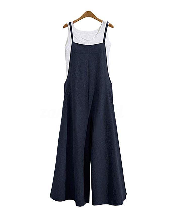 0de4dd8671 AmazonSmile: LVCBL Womens Loose Overalls Long Suspender Jumpsuit Bib Baggy  Romper Pants Plus Size 8