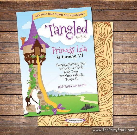 Tangled Birthday Invitation Tangled Invitation Rapunzel Invitation