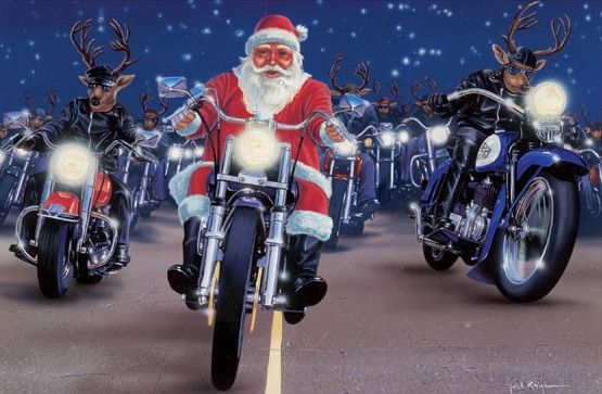 Santa Rides A Motorcycle Christmas Card Collection With Images