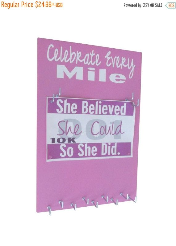 ON SALE Race bib and medal holder, running, runner gift, race bib holder, race medal holder, Gifts for runners, Celebrate every mile hanger,