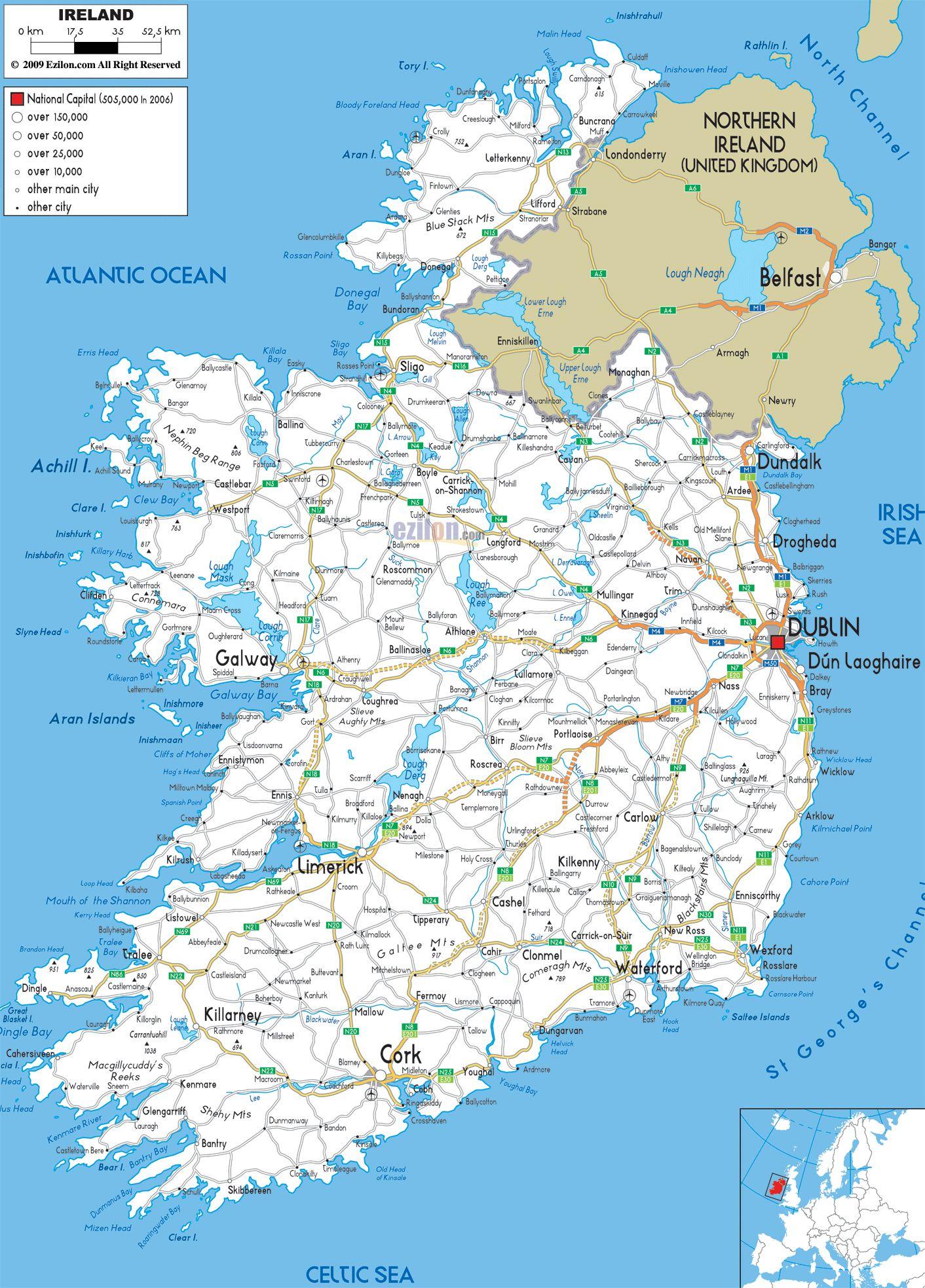 Ireland Road Map Different Destinations Pinterest Visit