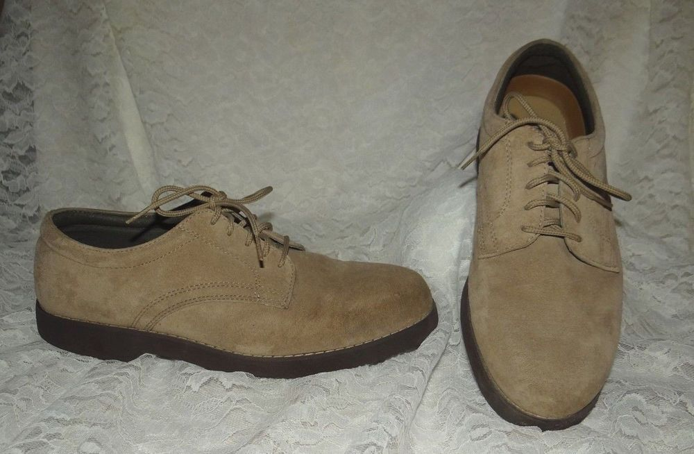 Mens Hush Puppies Suede Leather Oxfords Caual Taupe Size 8.5 M Dress Fashion  #HushPuppies #Oxfords