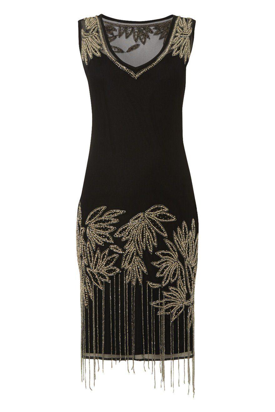 Roman originals robe charleston franges perles floral noir size 20 soir e charleston - Robe charleston annee 20 ...