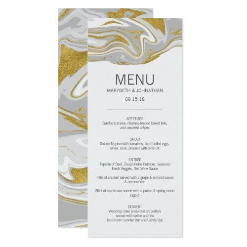 Modern Marble and Gold Wedding Menu Card | Marble Wedding Ideas ...