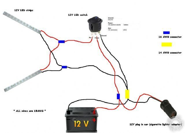 Connecting Led Strip To 12 Volt Car Battery Power Supply Wiring Diagram Google Search Car Battery Led Strip Battery Maintenance
