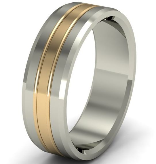Mens White And Yellow Gold Wedding Bands