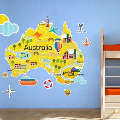 Australia Kids Map Sticker - Moon Wall Stickers | World Map Stickers ...