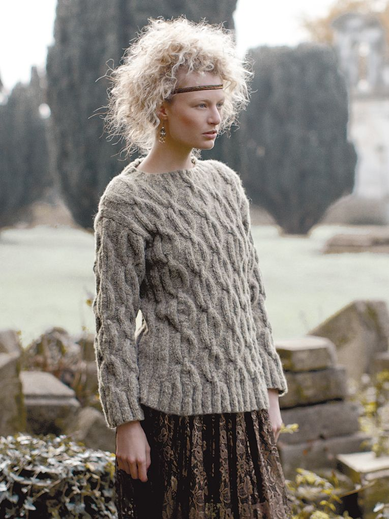 Glacier Knit This Ladies Cable Sweater From Rowan