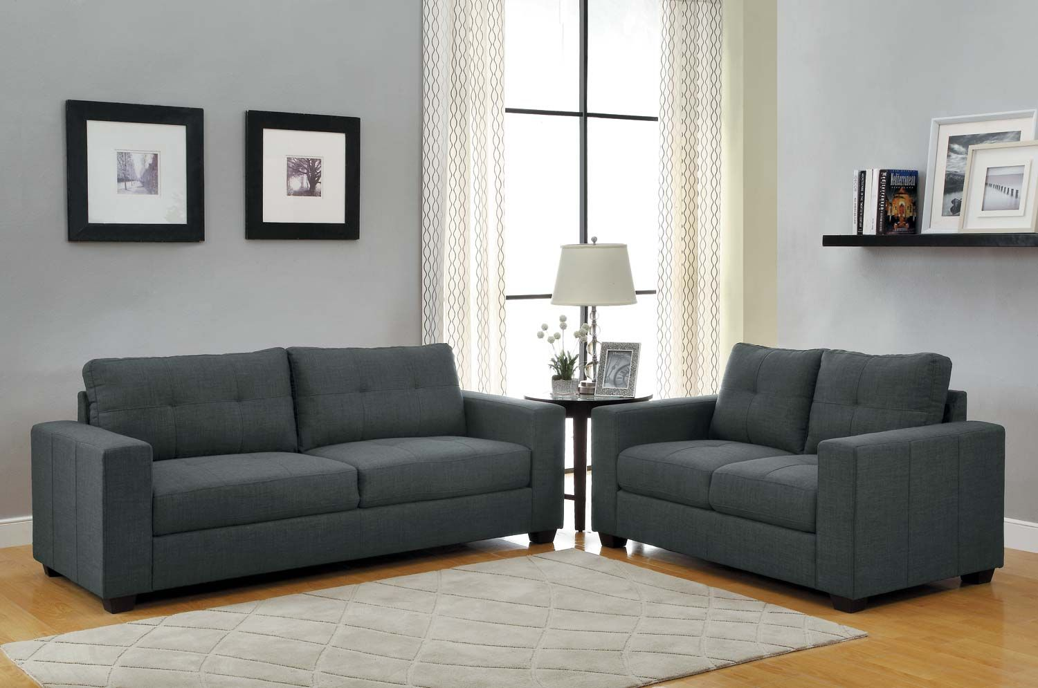 Homelegance Ashmont Sofa Set Dark Grey Linen Living Room