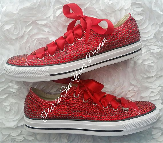 super popular 95535 255bc Swarovski Crystal Rhinestone Ruby Red Converse Shoes - Swarovski Shoes -  Red Wedding Shoes - Red Bri