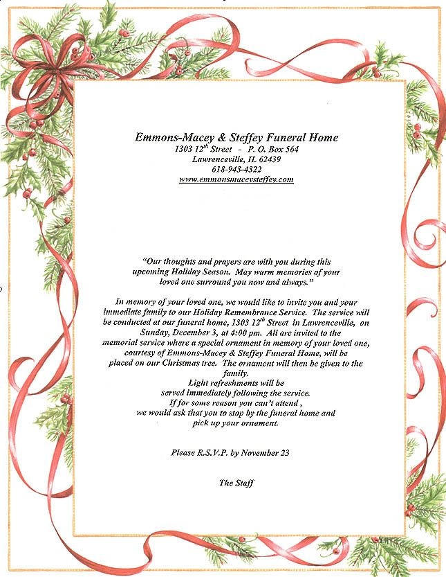Memorial Service Programs Sample Invitations