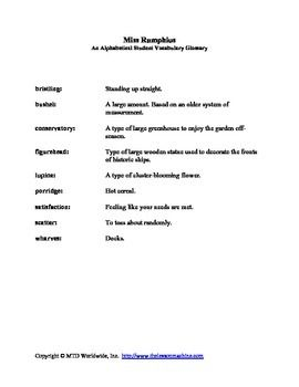 This spelling words vocabulary glossary for Miss Rumphius features ...