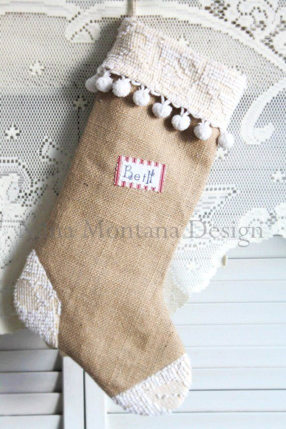 Gold Christmas Stocking with Lace and Pearls #Burlap #Christmas #Stockings www.loveitsomuch.com