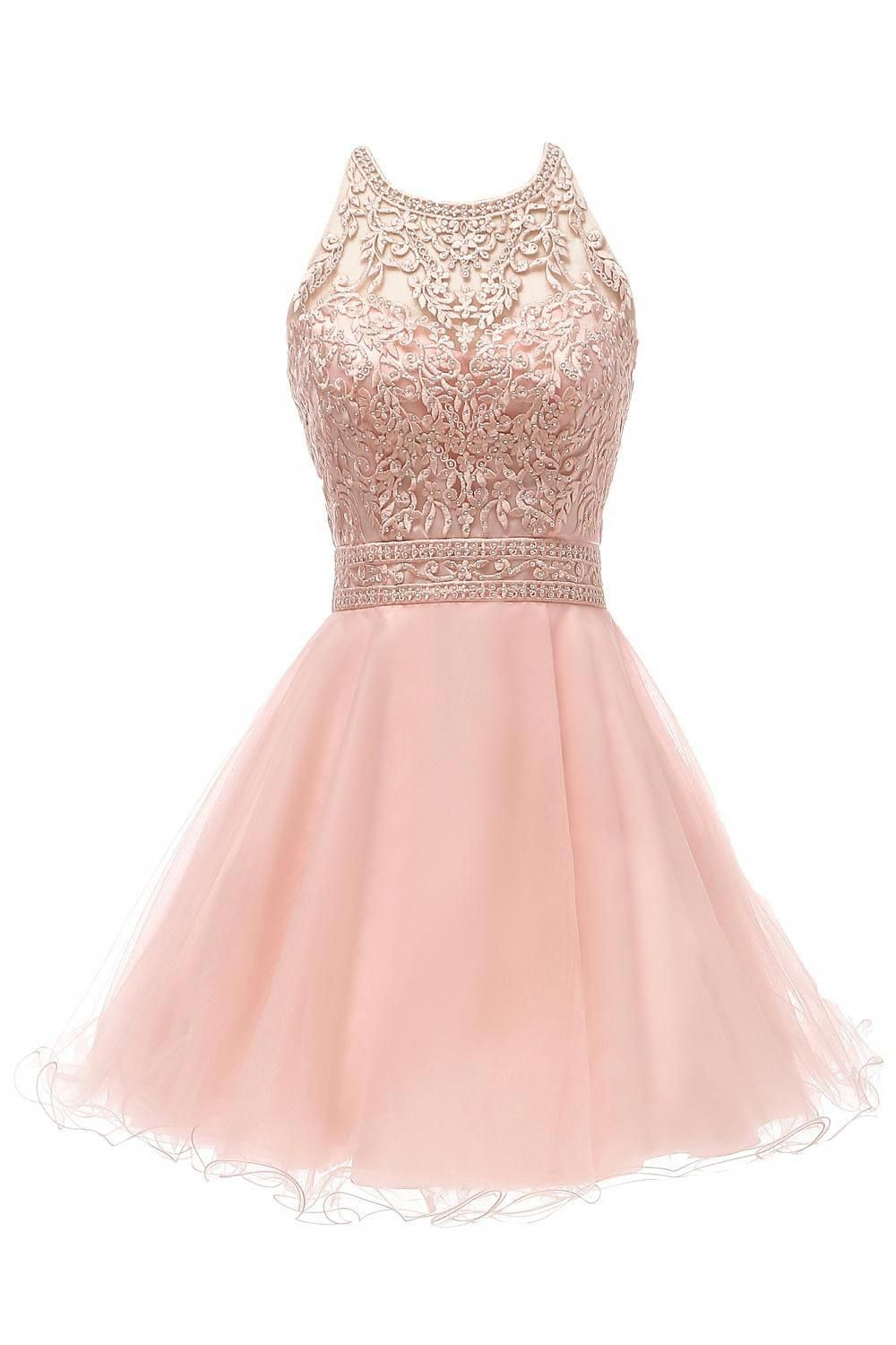 20 Blush Short Prom Dresses Halter Lace Appliques Beaded A Line