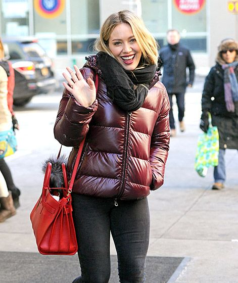 Hilary Duff braves the NYC cold in her puffer coat