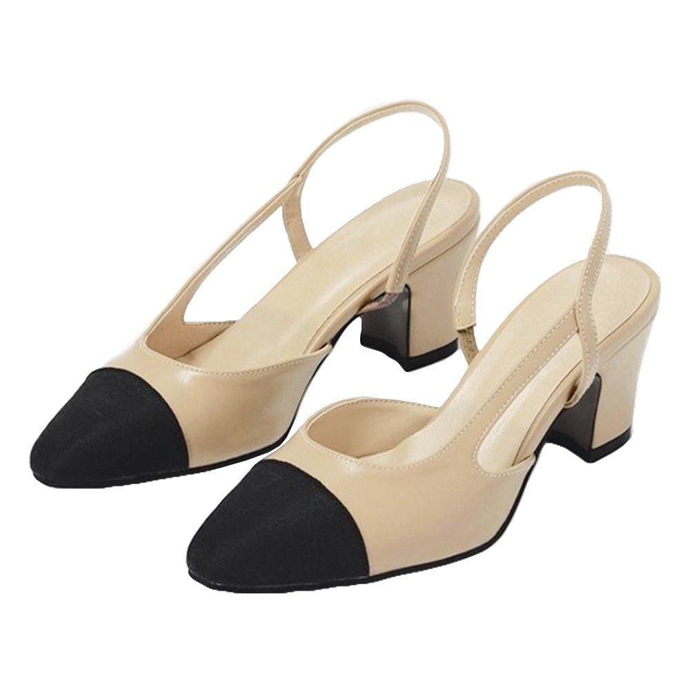 07933b1bb3d  Janelle  Two Tone Beige Leather Slingback Pumps