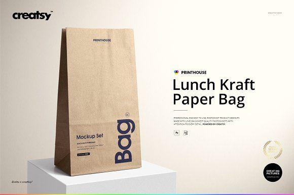 Download Lunch Kraft Paper Bag Mockup Set Bag Mockup Paper Bag Paper Bag Design