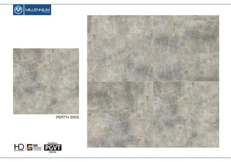 Perth Gris 600x600mm 24x24 Digital Porcelain Pgvt Floor Tiles