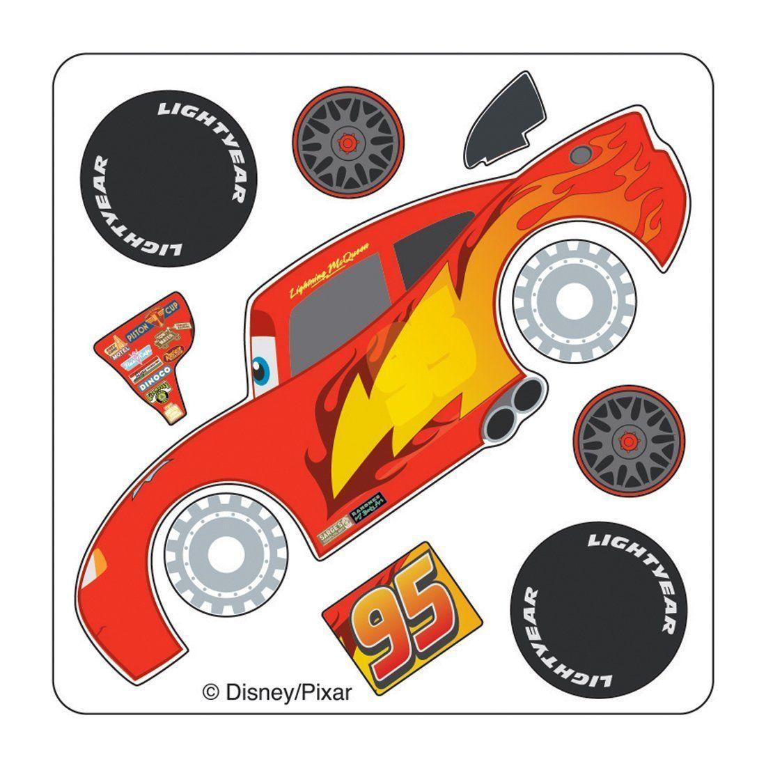 Disney Cars Lightning Mcqueen Make Your Own Stickers Voiture En Carton Idees De Fete Joyeuses Fetes [ 1100 x 1100 Pixel ]