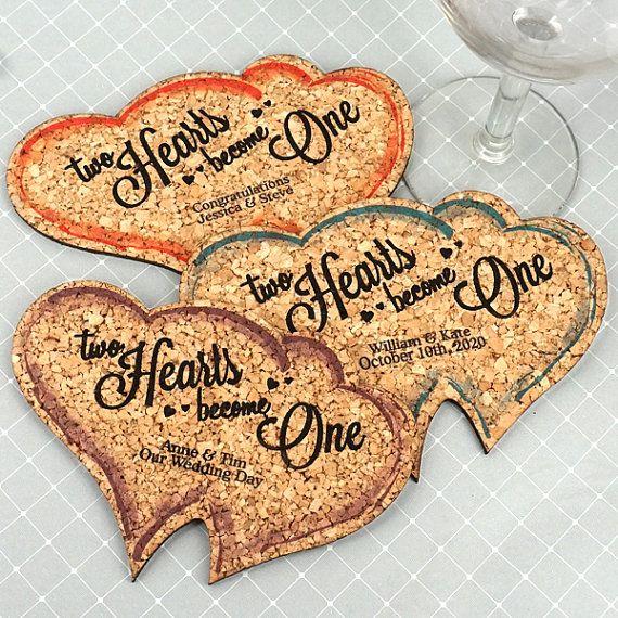 Wedding Cork Coaster: Wedding Favor Coasters, Personalized Double Heart Shaped